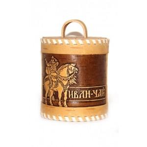Иван-чай в бочонке из бересты.
